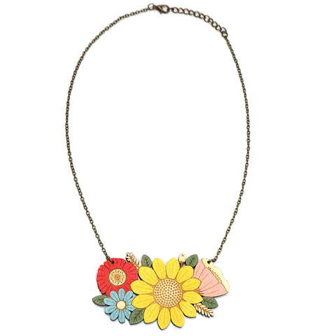 Painted Wooden Sunflower Bouquet Necklace by Layla Amber