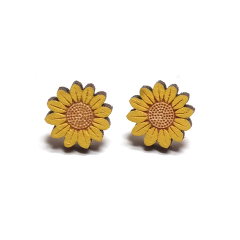 Yellow Wooden Sunflower Stud Earrings