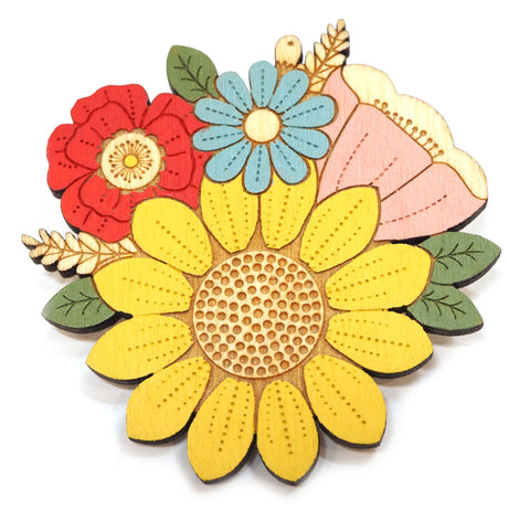 Handpainted Sunflower Posy Brooch