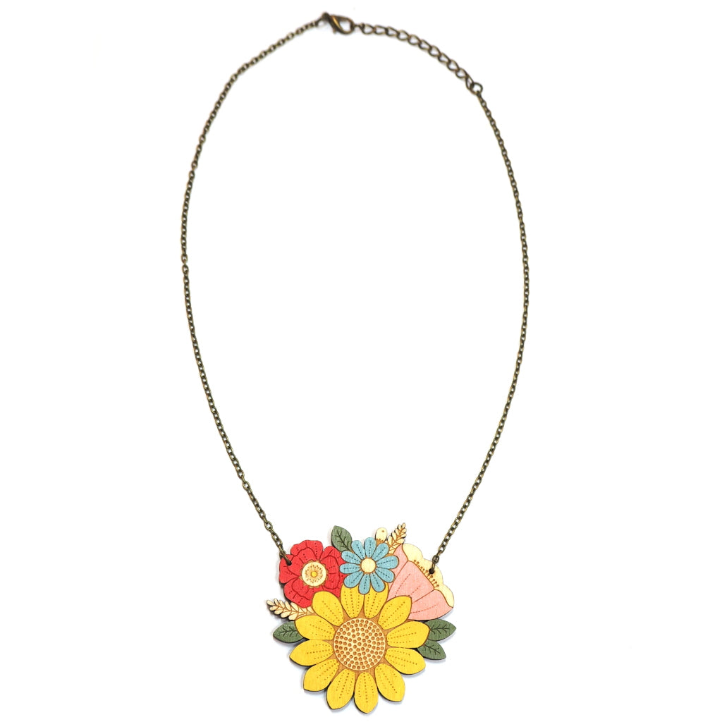 Hand Painted Wooden Sunflower Posy Necklace