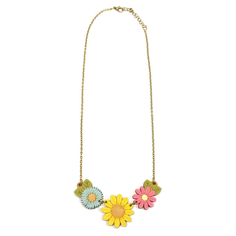 Sunflower Wildflower Necklace with hand painted wooden design featuring red, yellow and blue flowers hanging from an antique gold effect chain
