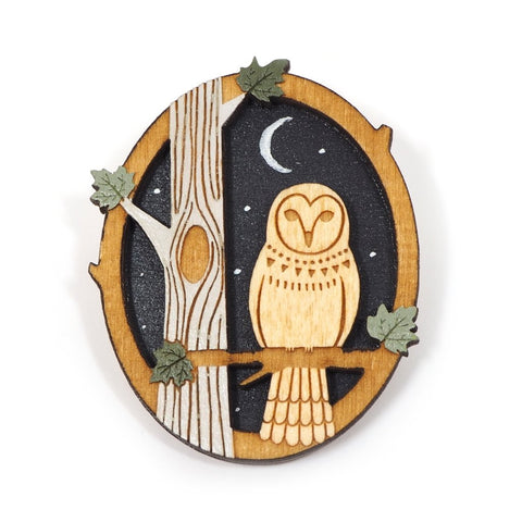 Woodland Owl Double Layered Wooden Brooch