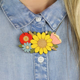 Sunflower Bouquet Necklace on Model