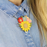 Sunflower Posy Necklace on Model