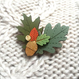 Acorn and Autumn Leaves Wooden Brooch