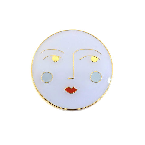 Luna Moon Face Enamel Pin