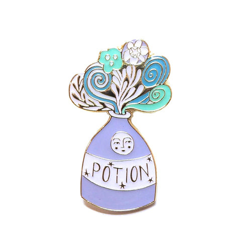 Lilac Potion Bottle Enamel Pin Brooch