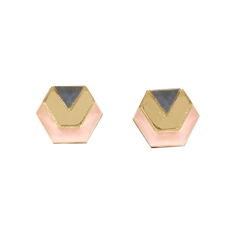 acrylic hexagon stud earrings in gold mirror, peach and navy