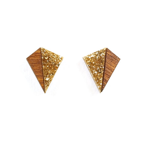 Little Pyramid Kite Earrings in Gold Glitter Acrylic and Wood