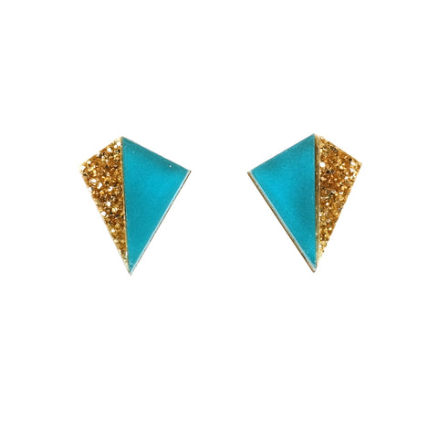 Little Pyramid Kite Shaped Stud Earrings in Teal and Gold Glitter Acrylic
