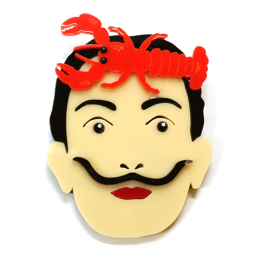 Salvador Dali Icon Acrylic Statement Brooch