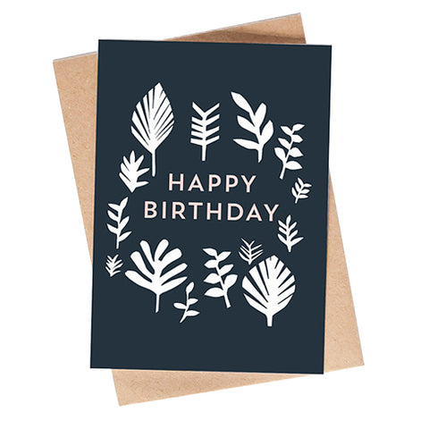 Leaf Pattern Birthday Card