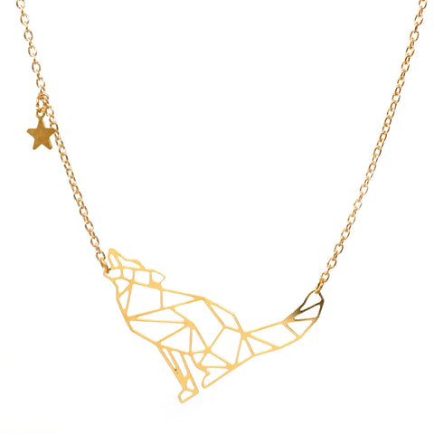 Geometric constellation gold plated Wolf necklace on gold chain