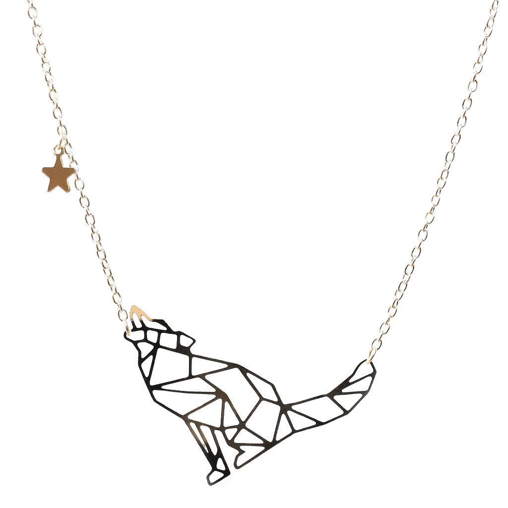 7bb38b384 Geometric constellation silver plated Wolf necklace on silver chain