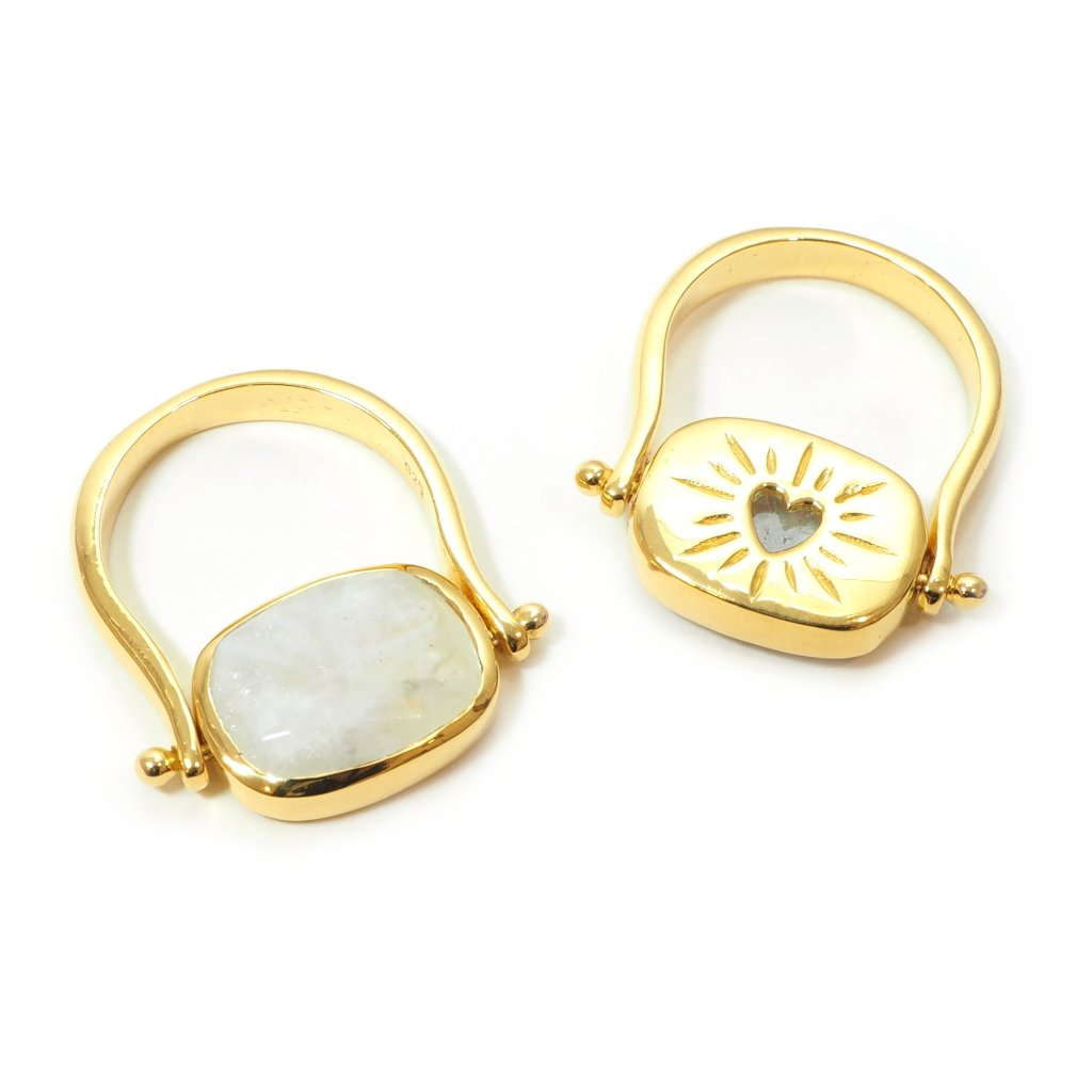Amour Reversible Ring in Moonstone Front and Back Pictured