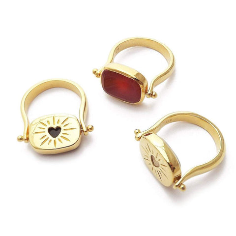 Amour Reversible Ring in all colours - Moonstone, Red Onyx, Black Onyx