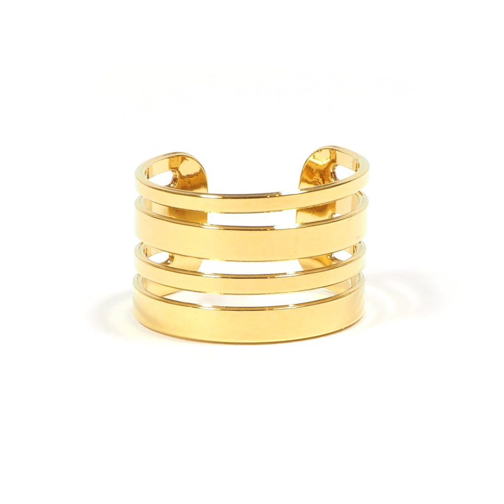 Front Image of Gold Plated Linea Multiple Line Ring