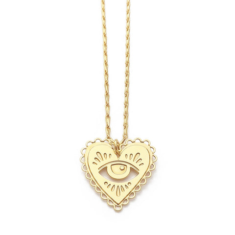 Milagro Sacred Heart Eye Necklace in Gold