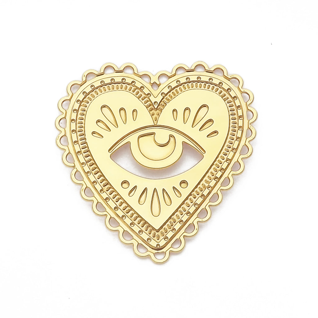 Gold Milagro Heart and Eye Brooch Pin
