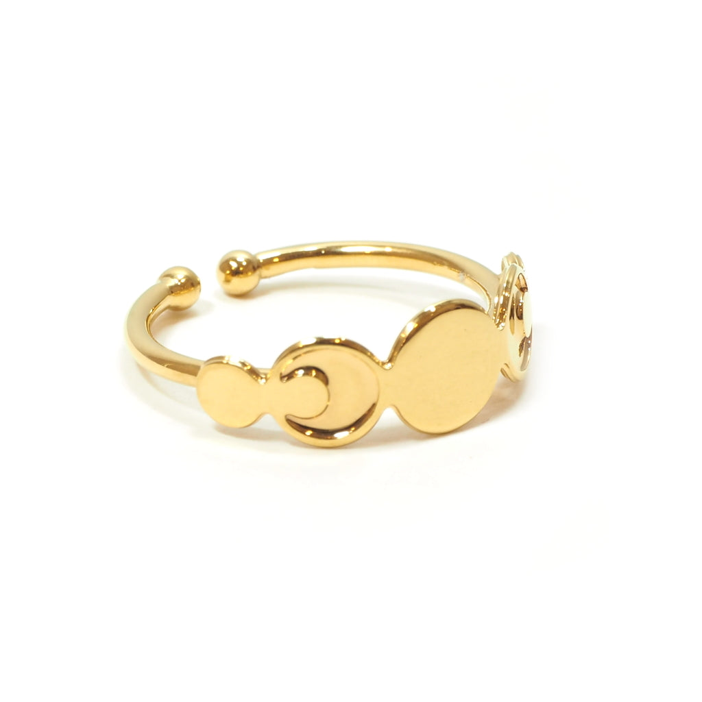 Gold Plated Moonphase Adjustable Ring