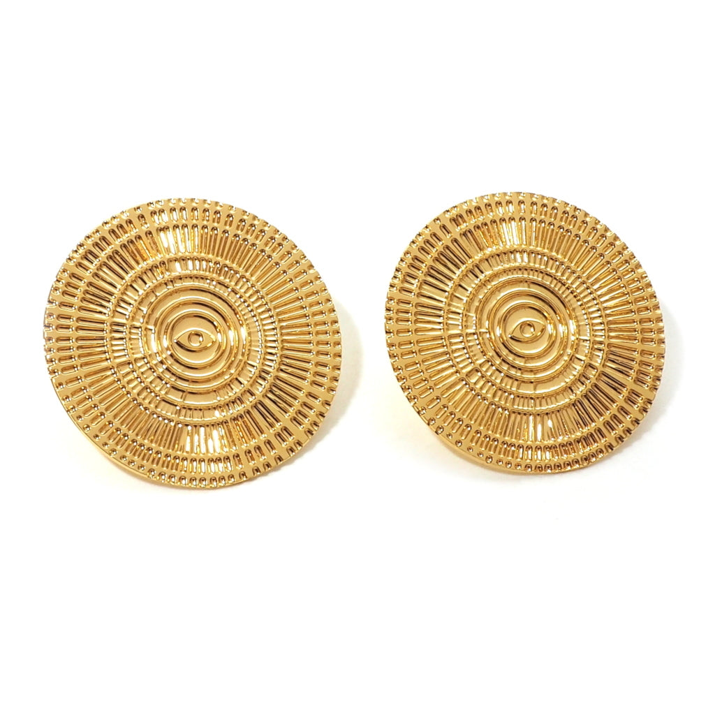 Rayonne Textured Large Disc Earrings