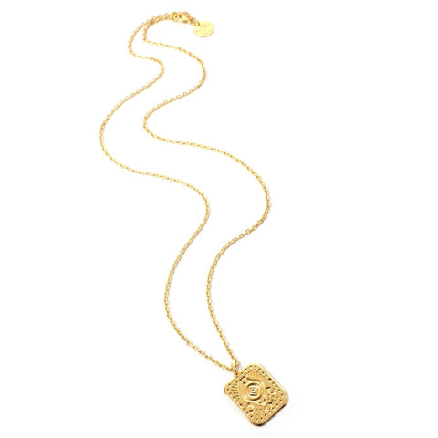 Venus Square Medallion Gold Plated Necklace