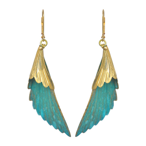 Mika Brass Verdigris Drop Earrings