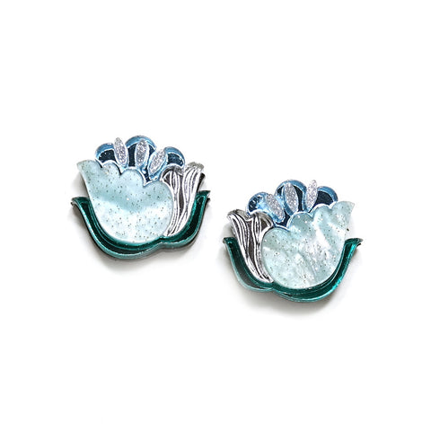 pale blue acrylic floral stud earrings by rosa pietsch