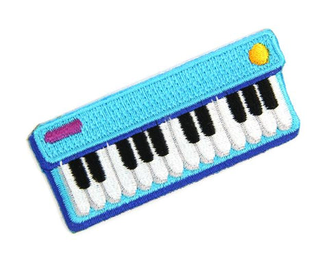 Mokuyobi threads iron-on embroidered keyboard jam patch - blue keyboard piano shaped patch