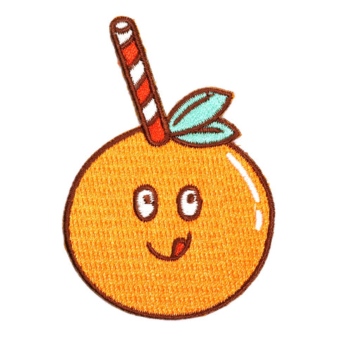 Cute Orange Straw Iron-On Embroidered Patch