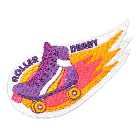 roller derby boots on fire embroidered patch