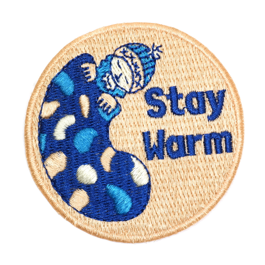 stay warm man in a sleeping bag camping embroidered patch