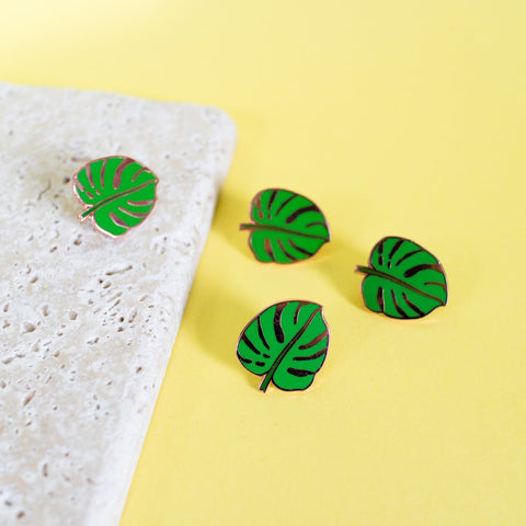 Monstera cheese plant green leaf enamel pin badge by Finest Imaginary