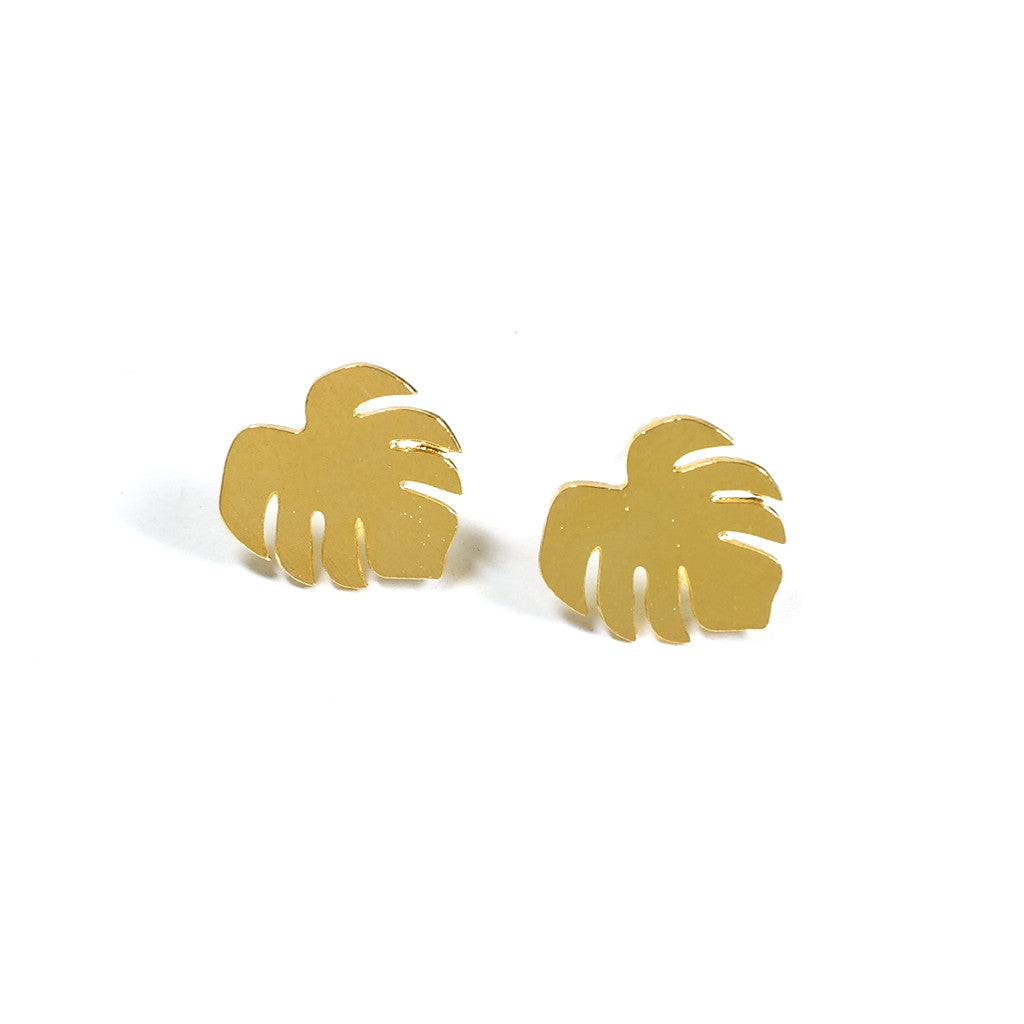 Golden Monstera Stud Earrings Eclectic Eccentricity