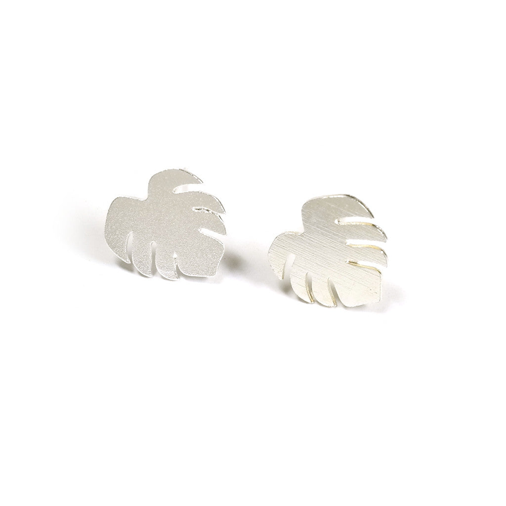Silver Monstera Stud Earrings Eclectic Eccentricity