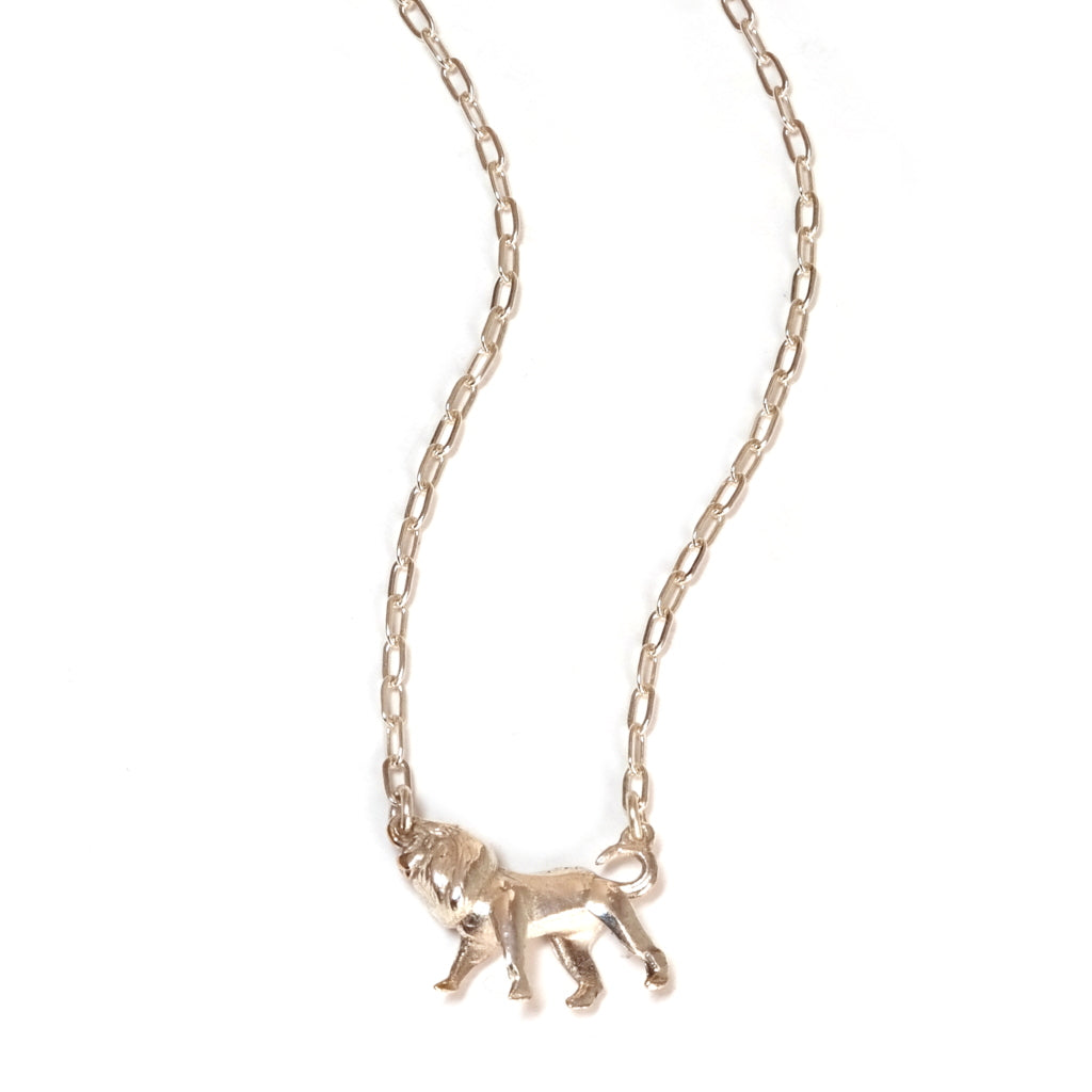 Close up of Little Lion Necklace in Silver by Mood Good Jewellery