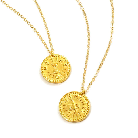 Time is Money Gold Charm Necklace