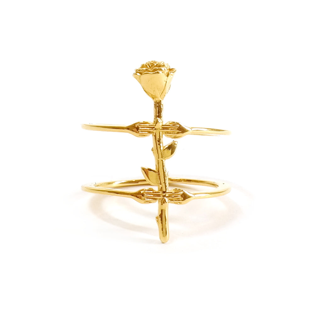 Mood Good Hand and Rose Charm Ring Gold