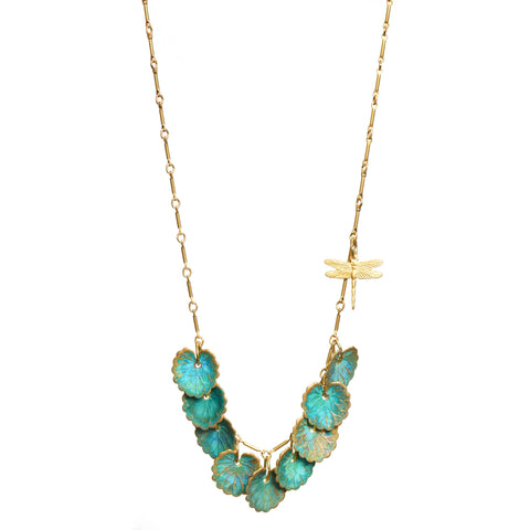 Green Patina Leaves and Dragonfly Naiad Necklace