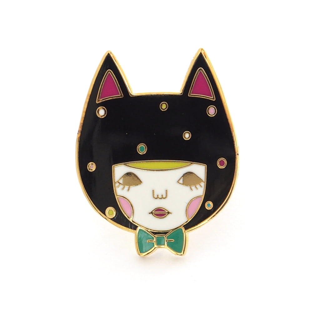 black cat enamel pin