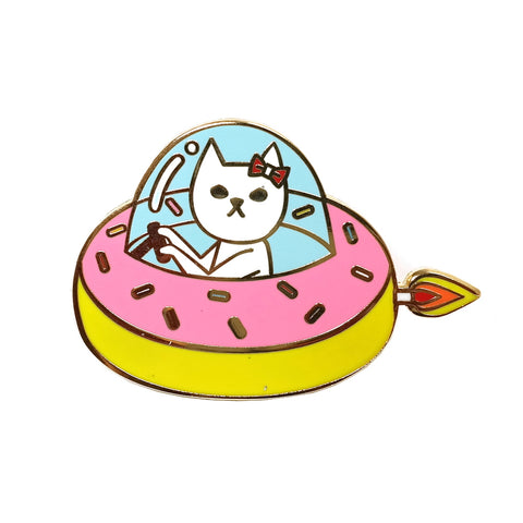 surreal cute kawaii cat in a donut spaceship enamel metal pin brooch