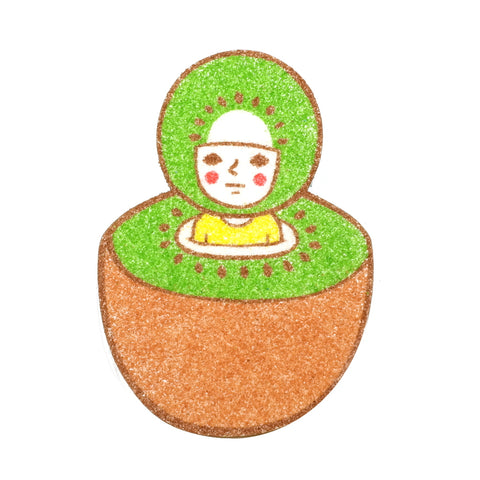 fruity kiwi person sunae sand art original artwork