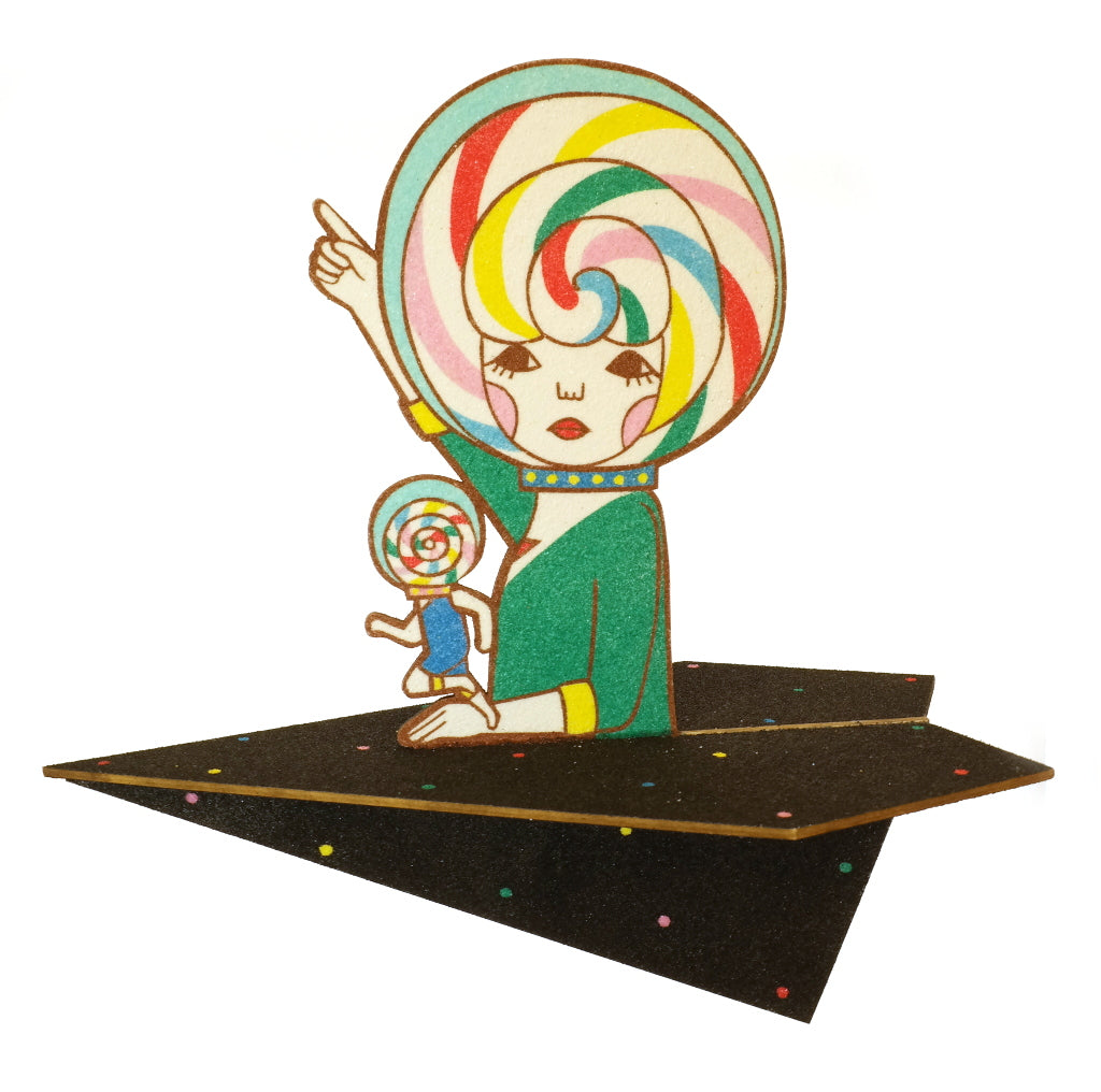 Surreal Lollipop Head Colour Japanese Sunae Sand Art Original Art