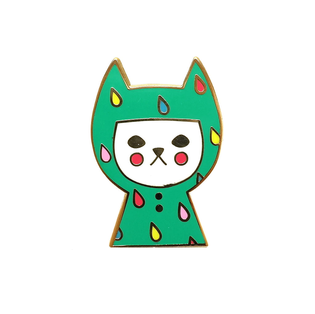 cute cat in a raincoat enamel metal pin brooch
