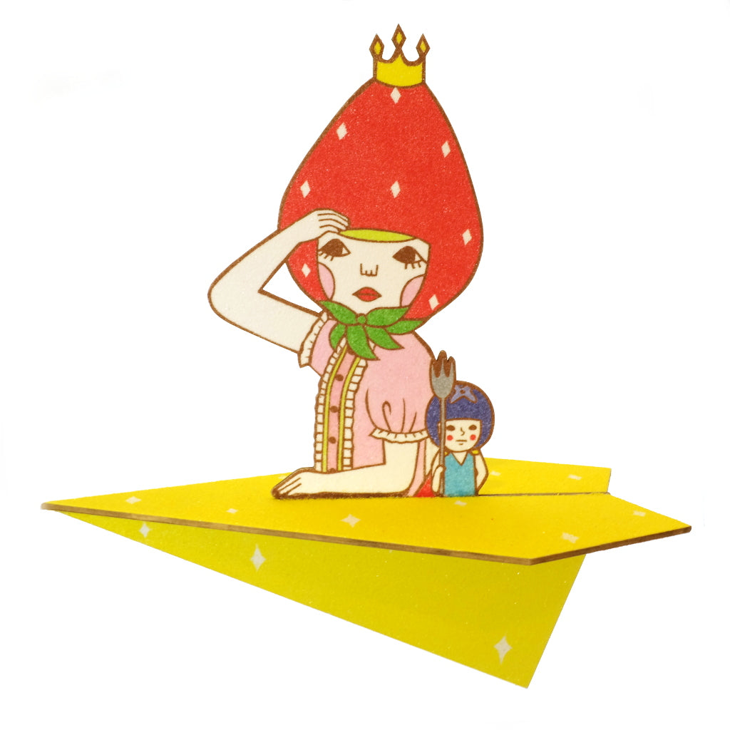 Surreal Sunae Japanese Sand Art Strawberry Crown King and Berry Man Original Art