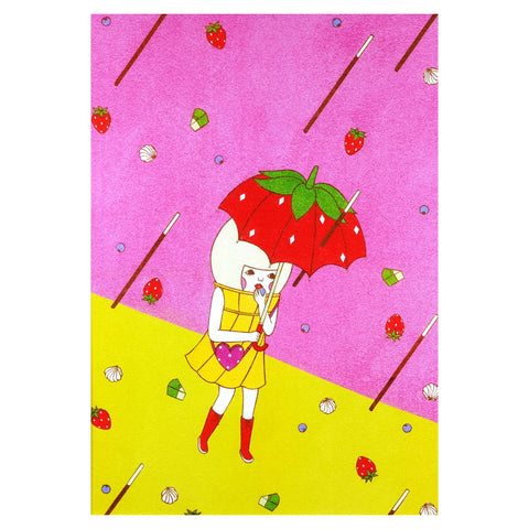 Sweets Typhoon Pocky Storm with Strawberry Umbrella Sunae Sand Art A4 Print