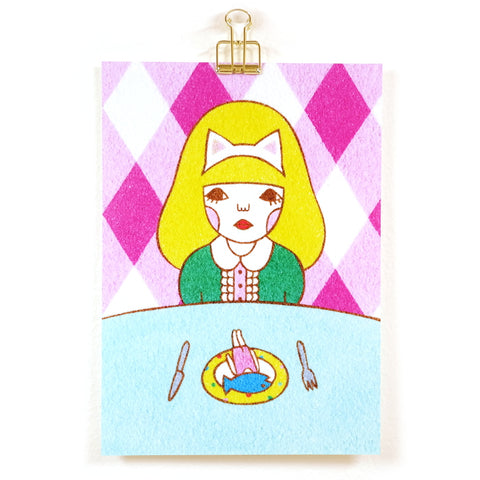 Fish Supper Girl with Fish Head Cat Ears Sunae Sand Art Mini Print