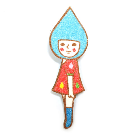 Raindrop Person Cute and Surreal Sunae Sand Art Original Artwork in Red