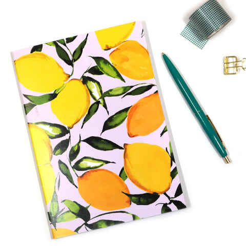 A5 Citrus Lemons Notebook Cover