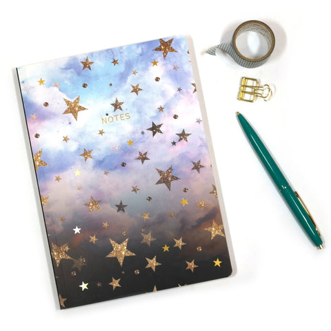 Nikki Strange Cloudy Stars Notebook - thick A5 Notebook with pretty star pattern